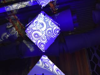 Blue Spiral Twistos Chandelier